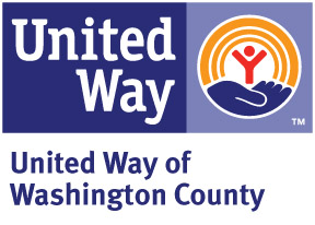 united way white text on a blue background